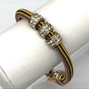 J. Crew Striped Cord with Pave Rondelles Bracelet